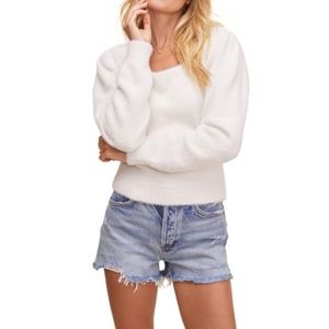 NEW ASTR the Label Fuzzy crop sweater in white XL